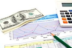 Pencil ,calculator and dollars. On financial Graphs Stock Image