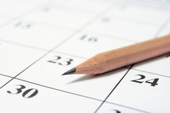 Pencil on Calendar Stock Images