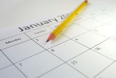 Pencil and calendar Stock Photography