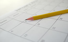 Pencil and calendar Royalty Free Stock Photos