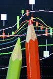 Pencil and candlestick chart Stock Photography