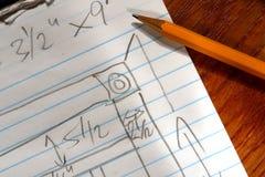 Pencil on Carpenter Wood Working Furniture Plan Stock Image