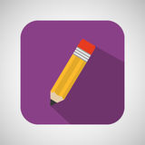 Pencil cartoon writing shadow and purple background Royalty Free Stock Photography