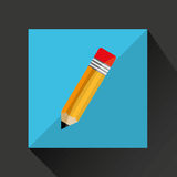 Pencil cartoon writing shadow and purple background Stock Image