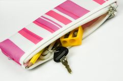 Pencil case and car key Royalty Free Stock Photos
