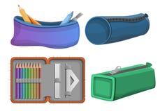 Pencil case icons set, cartoon style. Pencil case icons set. Cartoon set of pencil case vector icons for web design stock illustration