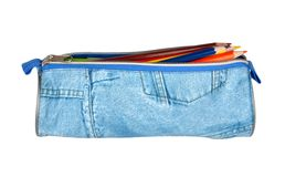 Pencil case with pencils Royalty Free Stock Images