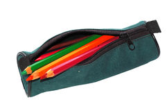 Pencil-case with pencils. Royalty Free Stock Image