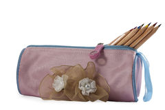 Pencil case and pencils Royalty Free Stock Photography