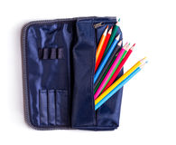 Pencil case with pencils Royalty Free Stock Photography