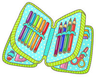 Pencil case. With pens, eraser, scissors, protractor, ruler, markers vector illustration Royalty Free Stock Image