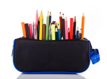 Pencil case. With school tools on a white background Royalty Free Stock Photography