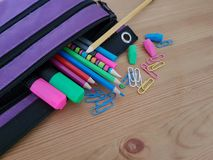 Pencil Case With Writing and Drawing Utensils stock photos
