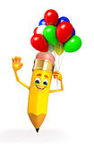 Pencil Character with Balloon Royalty Free Stock Photos