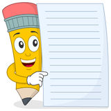 Pencil Character with Blank Paper. A funny cartoon pencil character holding a blank paper, isolated on white background. Eps file available Stock Image