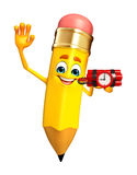 Pencil Character with Bomb Royalty Free Stock Photo