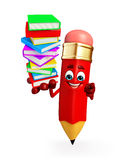 Pencil Character with Books pile Royalty Free Stock Photos