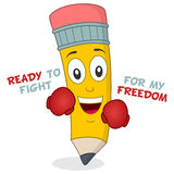 Pencil Character with Boxing Gloves. Ready to fight for my freedom. A cheerful cartoon pencil character smiling and wearing boxing gloves, isolated on white Stock Image