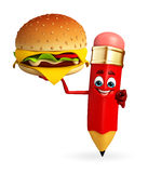 Pencil Character with burger Stock Image