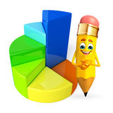 Pencil Character with Business graph Stock Photo