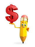 Pencil Character with dollar sign Royalty Free Stock Images