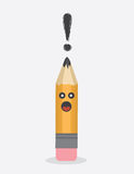 Pencil Character Exclamation Stock Image