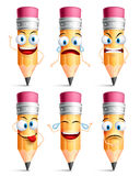 Pencil character facial expressions, emotions and hand gestures. In white background. Colorful pencil set in vector illustration stock illustration