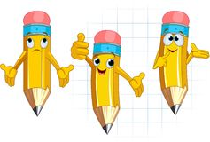Pencil Character facial expressions and posing Royalty Free Stock Images