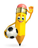 Pencil Character with football Stock Images
