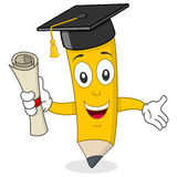 Pencil Character with Graduation Hat. A funny cartoon pencil character with graduation hat and holding a diploma, isolated on white background. Eps file royalty free illustration