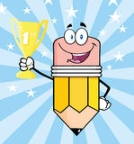 Pencil Character Holding Golden Trophy Cup Royalty Free Stock Image