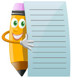 Pencil Character with note paper Royalty Free Stock Photography