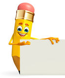 Pencil Character with sign Royalty Free Stock Photography