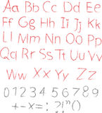 Pencil or charcoal chalk alphabet letter set Royalty Free Stock Images