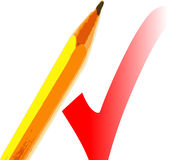Pencil and check. A fully scalable vector illustration of a pencil and a check/tick royalty free illustration