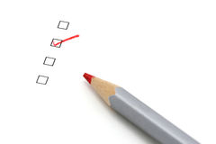 Pencil and check box. With focus on the checked box Stock Image