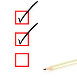 Pencil and check boxes Royalty Free Stock Photos