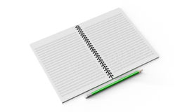Pencil on checked notebook isolated on white background Royalty Free Stock Photos