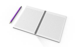 Pencil on checked notebook isolated on white background Royalty Free Stock Images