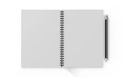 Pencil on checked notebook isolated on white background Stock Photos