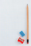 Pencil at checked paper royalty free stock images