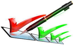 Pencil checklist green and red. Illustration with pencil and selection decision with list Stock Photos