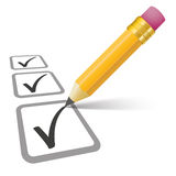 Pencil Checklist 3 Ticks Stock Image