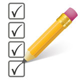 Pencil Checklist 4 Ticks Royalty Free Stock Image
