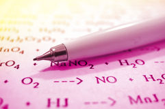 Pencil and chemistry formulas Stock Photos