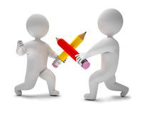 Pencil chivalry. Two men fighting with pencils, on a white background, 3d render Stock Image