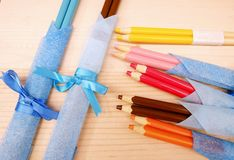 Pencil chopsticks Gift. The Pencil in chopsticks Gift Stock Photo