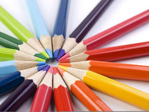 Pencil circle. A circle formed by the points of several colored pencils Royalty Free Stock Photos
