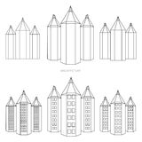 Pencil - city version in black and white style Stock Images