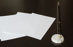Pencil and clear papers Royalty Free Stock Photos